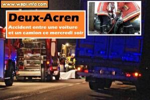Deux-Acren : accident entre une voiture et un camion ce mercredi soir