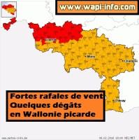 Fortes rafales de vent - quelques dégâts en Wallonie picarde