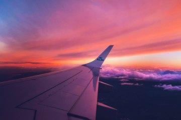 KLM airplane clouds