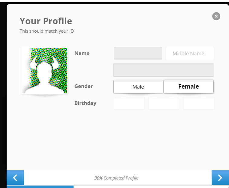 Add Birthday and Gender Etoro