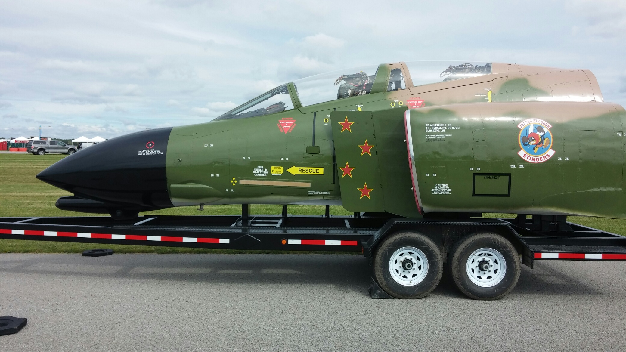 David Garbe's F-4D Phantom II cockpit on its specialized 30' transport trailer. (photo via David Garbe)