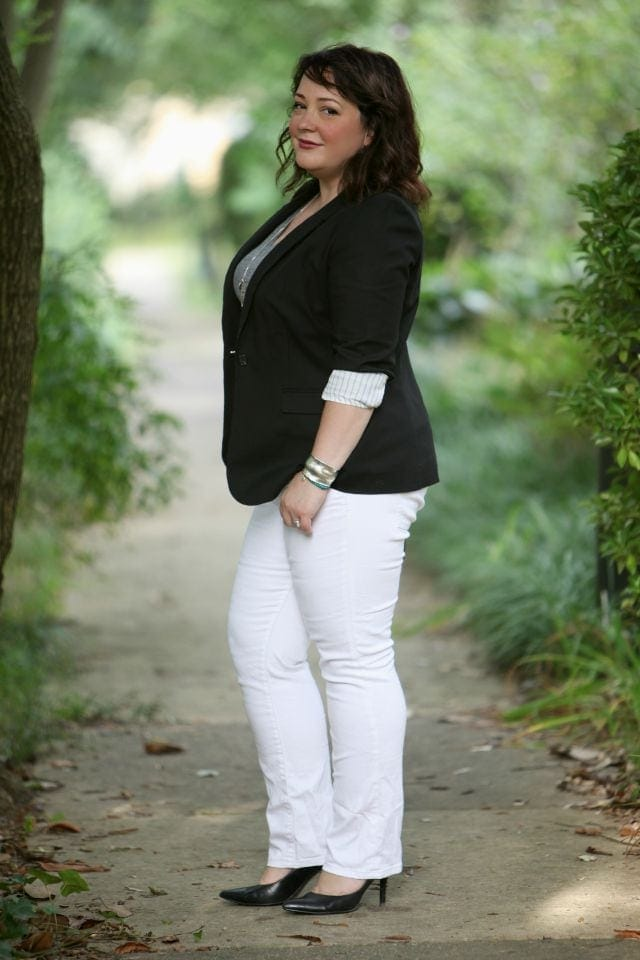 Wardrobe Oxygen wearing JAG Jeans Paley Bootcut with a Vince Camuto blazer and Nine West pumps