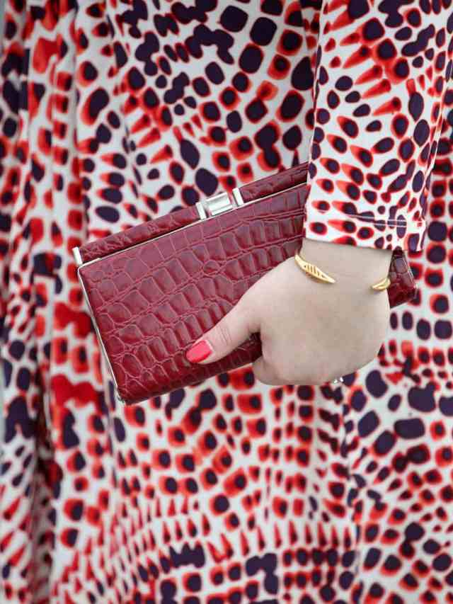 Wardrobe Oxygen featuring an Issa from Banana Republic dress and red croco framed clutch bag