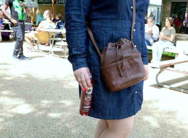 Wardrobe Oxygen, over 40 fashion blogger in Boden denim dress, bandana, Clarks booties and a vintage Coach bucket bag