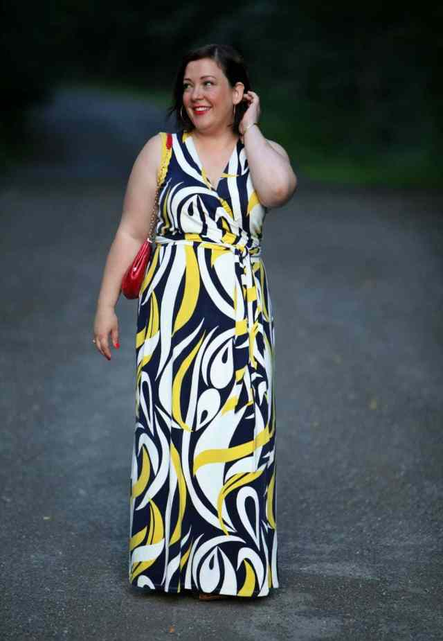 wardrobe oxygen over 40 blogger in boden maxi dress