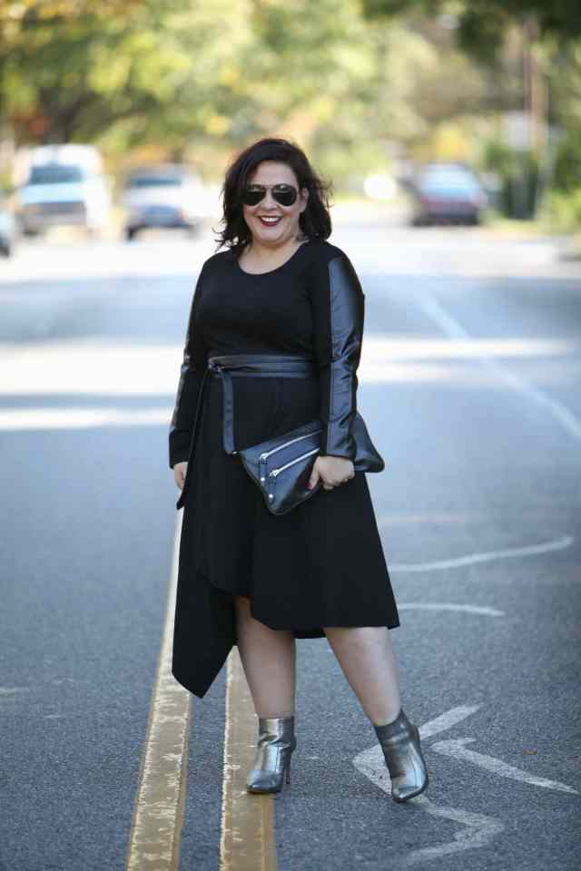 Wardrobe Oxygen, over 40 fashion blogger in Stella Carakasi leather and ponte dress