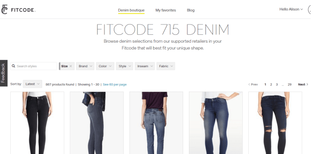 Screenshot of FitCode 715 Denim