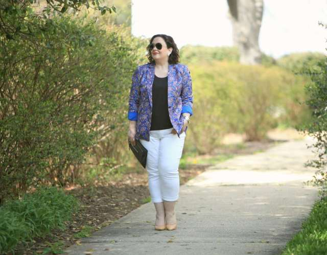 Wardrobe Oxygen in Chico's So Slimming Girlfriend Jeans with a Banana Republic paisley blazer
