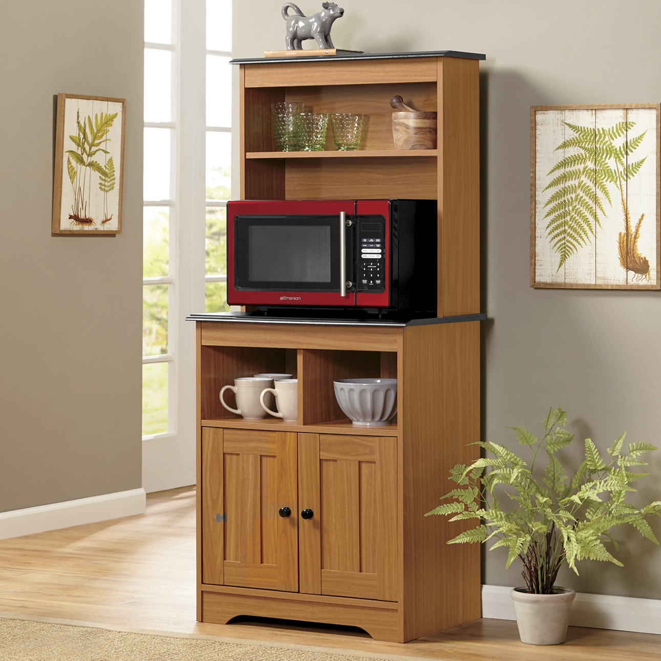 katie microwave stand with hutch