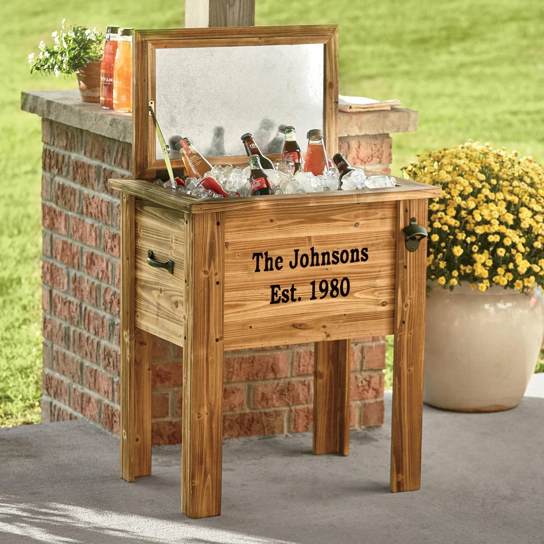 wood patio cooler