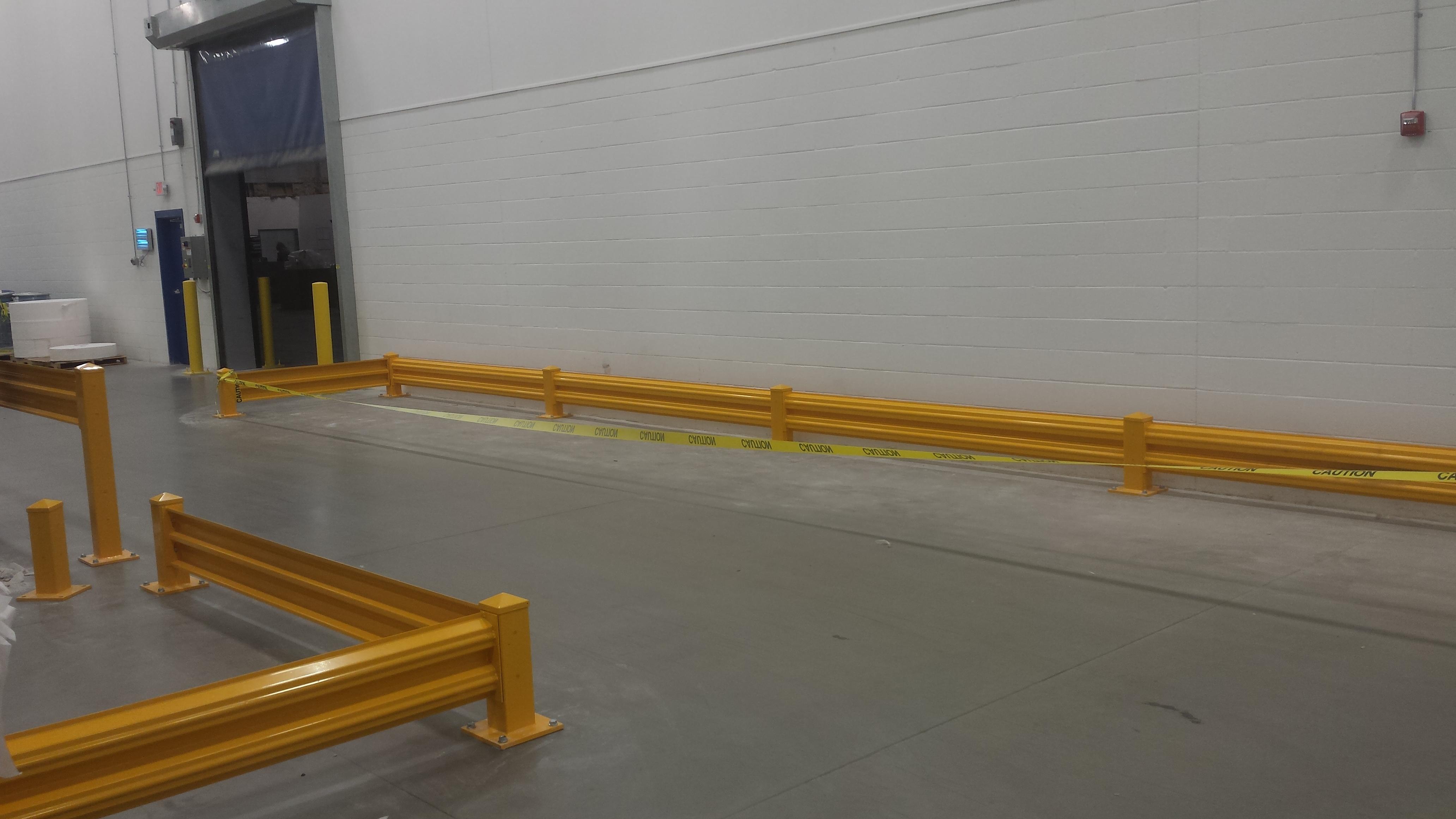 Fork Lift Guarding : Guard railing warehouse design