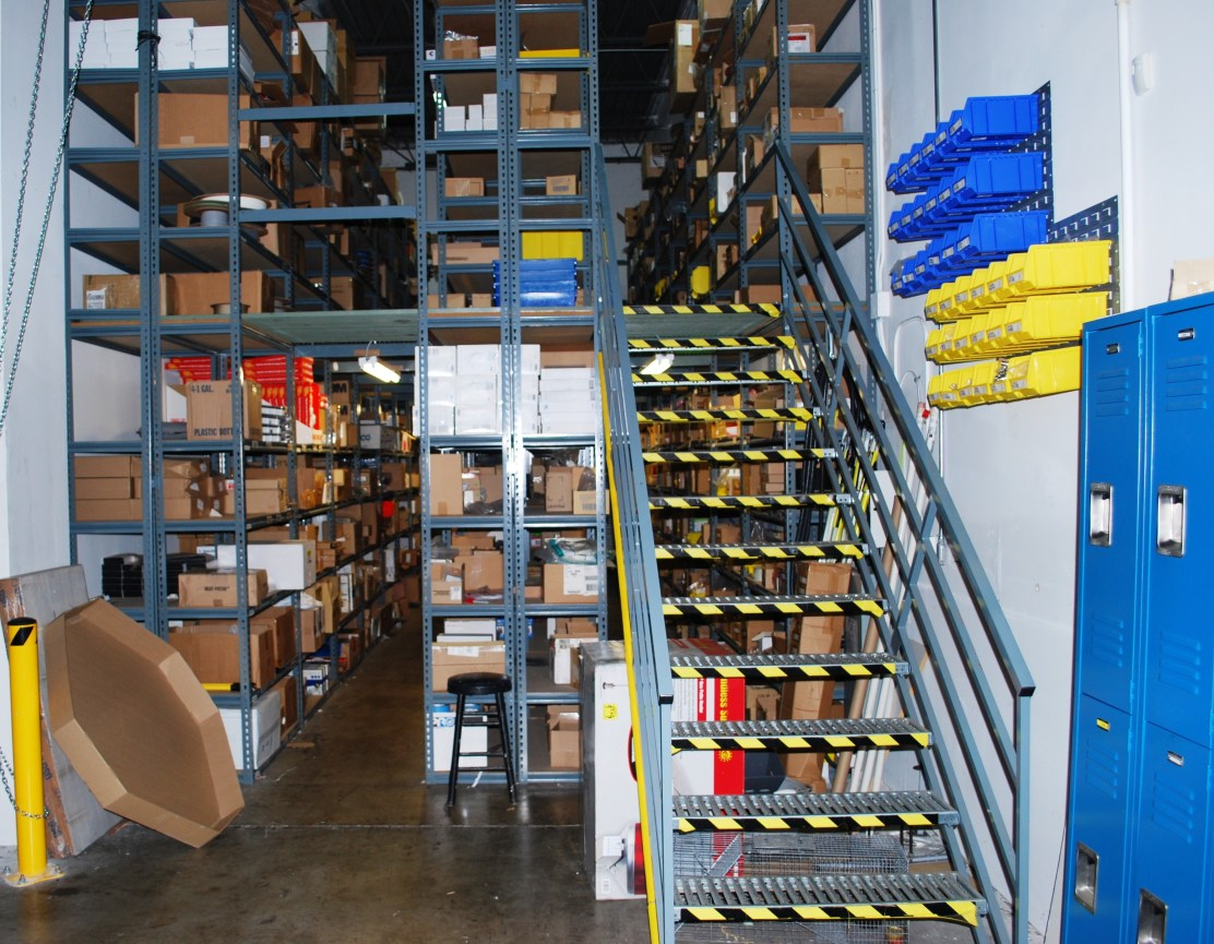 Open Metal Shelving Supported Mezzanine