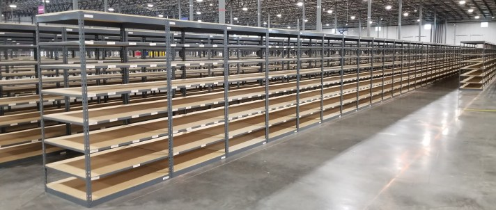 Open Shelving with wood decking
