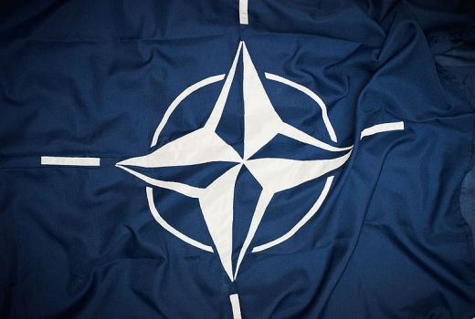 NATO flag by Sgt Paul Shaw (Crown Copyright, 2014)