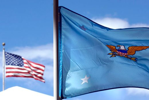 Flag of the United States Secretary of Defense and US Flag