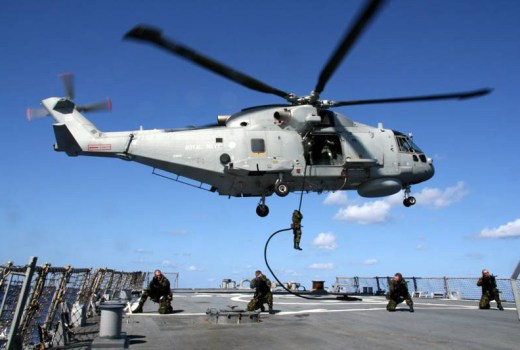 Royal Navy Merlin Helicopter, HMS Monmouth