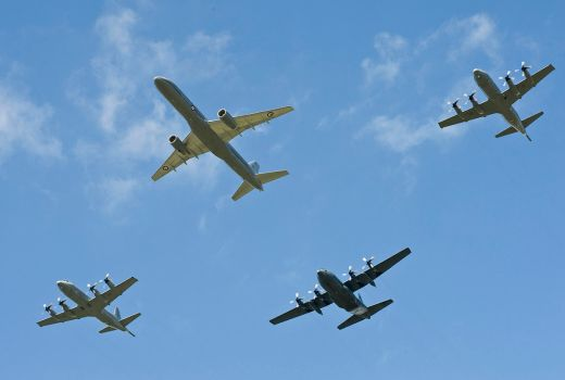 NZ Defence Force, Royal New Zealand Air Force, Boeing 757, P3K Orion and C-130 Hercules in formation, 2011 (CC3)