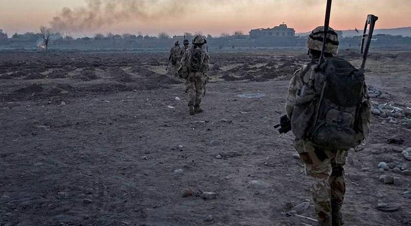Royal Marines 45 Commando Whiskey Coy patrolling near FOB (Forward Operating Base) Jackson, Sangin, Helmand Province, Afghanistan, by Nick Tryon (Crown Copyright 2008)