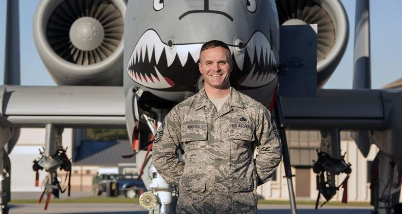 USAF Thunderbirds, AF Chief Master Sgt Jason Hughes with A-10C Thunderbolt II, Moody Air Force Base, Ga, 10 Feb 2017, by Airman Gregory Nash
