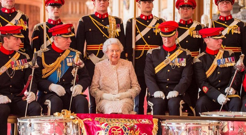 British Army, The Royal Lancers, Queen Elizabeth II presents new guidon at Windsor Castle, 5 April 2017, by Rupert Frere (Crown Copyright)