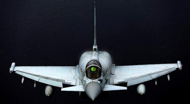 RAF Typhoon in Op ELLAMY over Libya, Captioned Shark Attack by Squadron Leader John Eklund, an RAF Reservist with 7644(VR) Squadron (Crown Copyright, 2014)