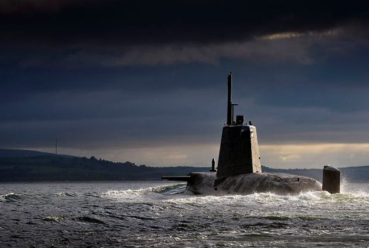 Royal Navy Astute-Class Submarine HMS Ambush, returning to HMNB Clyde, Scotland, 15 July 2013 (Crown Copyright)