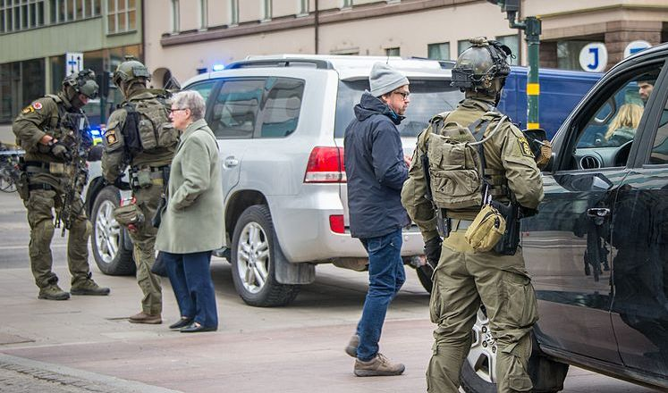 Sweden, Stockholm, specialist police units at scene following 7 April 2017 Islamic terrorist attack, by Frankie Fouganthin (2017, CC4)