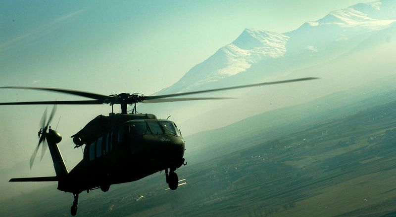 US Army KFOR UH-60 Black Hawk helicopter leaving Camp Bondsteel, Kosovo, 14 Nov 2006 (USAF)