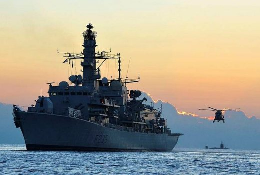 Royal Navy HMS Monmouth a Type 23 frigate, in the Middle East on operations with HMS Trenchant and a Lynx helicopter 815 Naval Air Squadron, by Ben Shread (Crown, 2012)
