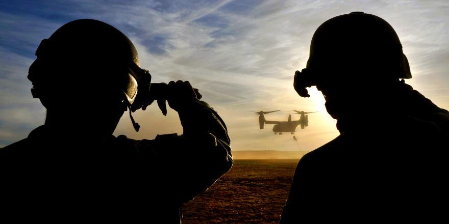 US Army 10th Special Forces Group, 4th battalion, Alpha Coy, Fort Carson, observe a CV-22 Osprey during Emerald Warrior 2011 by Sgt DeNoris Mickle