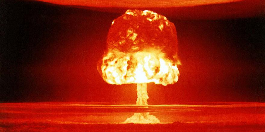 Nuclear deterrence, Castle Romeo nuclear test on Bikini Atoll, 27 March 1954 (US Dept of Energy)