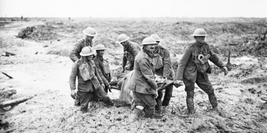 British Army, WWI, Third Battle of Ypres (Passchendaele), stretcher bearers, 31 July - 2 August 1917, by John Warwick Brooke