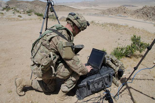 US Army 780th Military Intelligence Brigade sets up cyber equipment at the National Training Center at Fort Irwin, CA, May 5, 2017