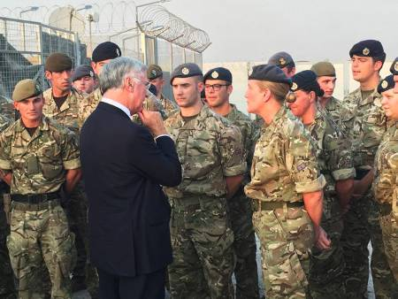 Sir Michael Fallon announces Op Shader medal on visit to deployed troops in Iraq (Crown Copyright, 2017)