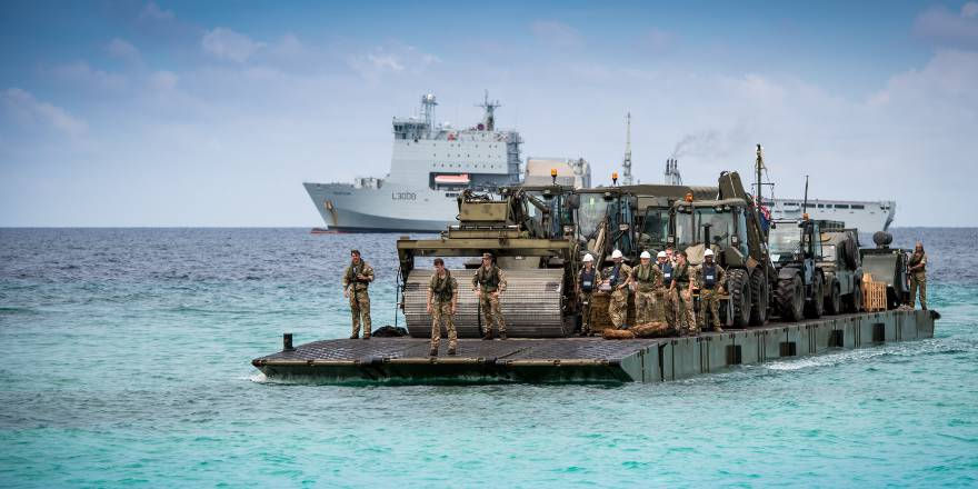 Royal Navy, RFA Mounts Bay Mexifloat on Op RUMAN with 40 Commando RM and 59 Commando RE