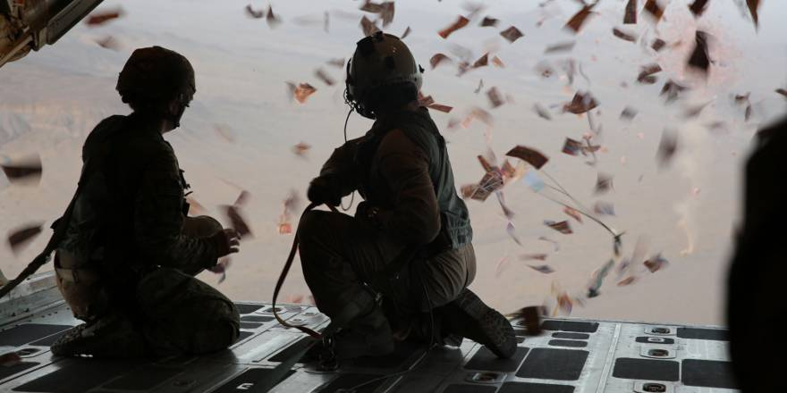 A US Army leaflet drop over Afghanistan