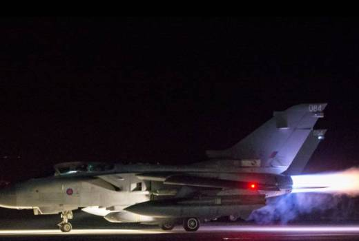RAF, 31 Squadron Tornado GR4 takes off to attack Syria, 14 April 2018 (Crown Copyright)