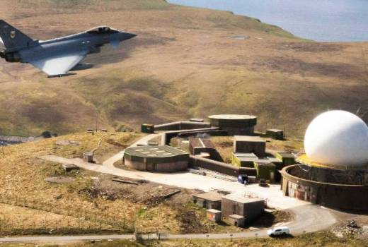 RAF Number 1(Fighter) Squadron Typhon from RAF Lossiemouth overflies the Air Defence Radar at Saxa Vord, Island of Unst, Shetland (Crown Copyright, 2018)