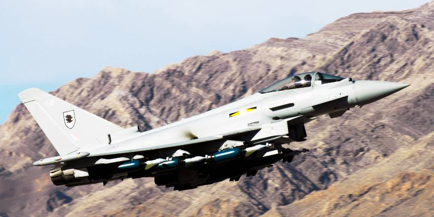 RAF Typhoon from RAF Coningsby armed with Paveway IV guided bombs (Crown Copyright, 2009)