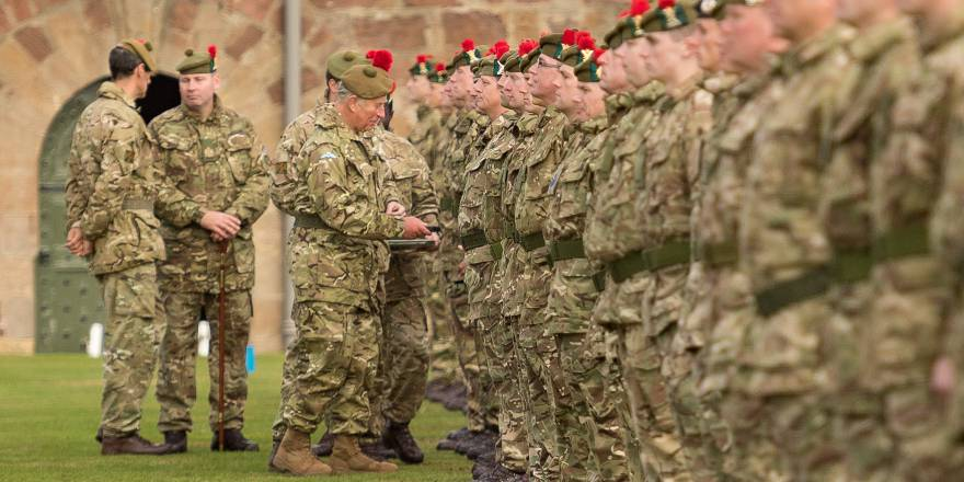The Black Watch, 3rd Battalion The Royal Regiment of Scotland (3 SCOTS) receive Op SHADER medals from Prince Charles(Crown Copyright, 2018) [880]