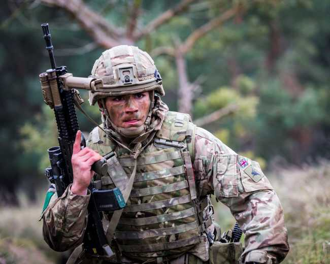 British Army Parachute Regiment 3rd Battalion (3 PARA) C Company on Exercise Yellow Assault STANTA, soldier with Virtus system (Crown Copyright, 2019, News licence) [650]