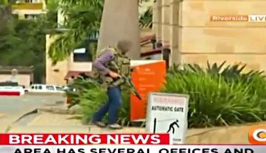 British Army SAS soldier responds to Al-Shabaab attack in Nairobi, Kenya (local TV footage)