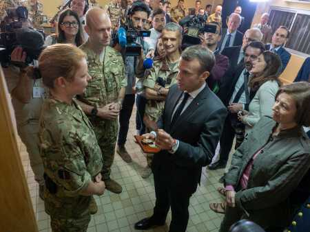 RAF, British Army Air Corps Operation NEWCOMBE meet French President Macron (RAF, 2018)