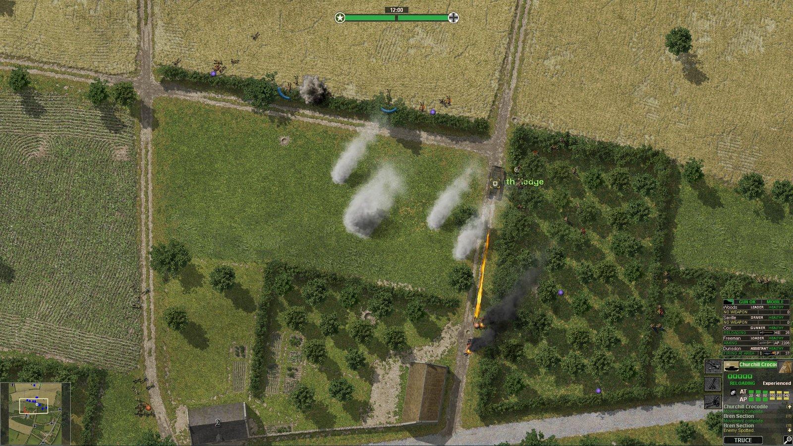 Un tank Churchill Crocodile soutenant une attaque d'infanterie à travers des fumigènes