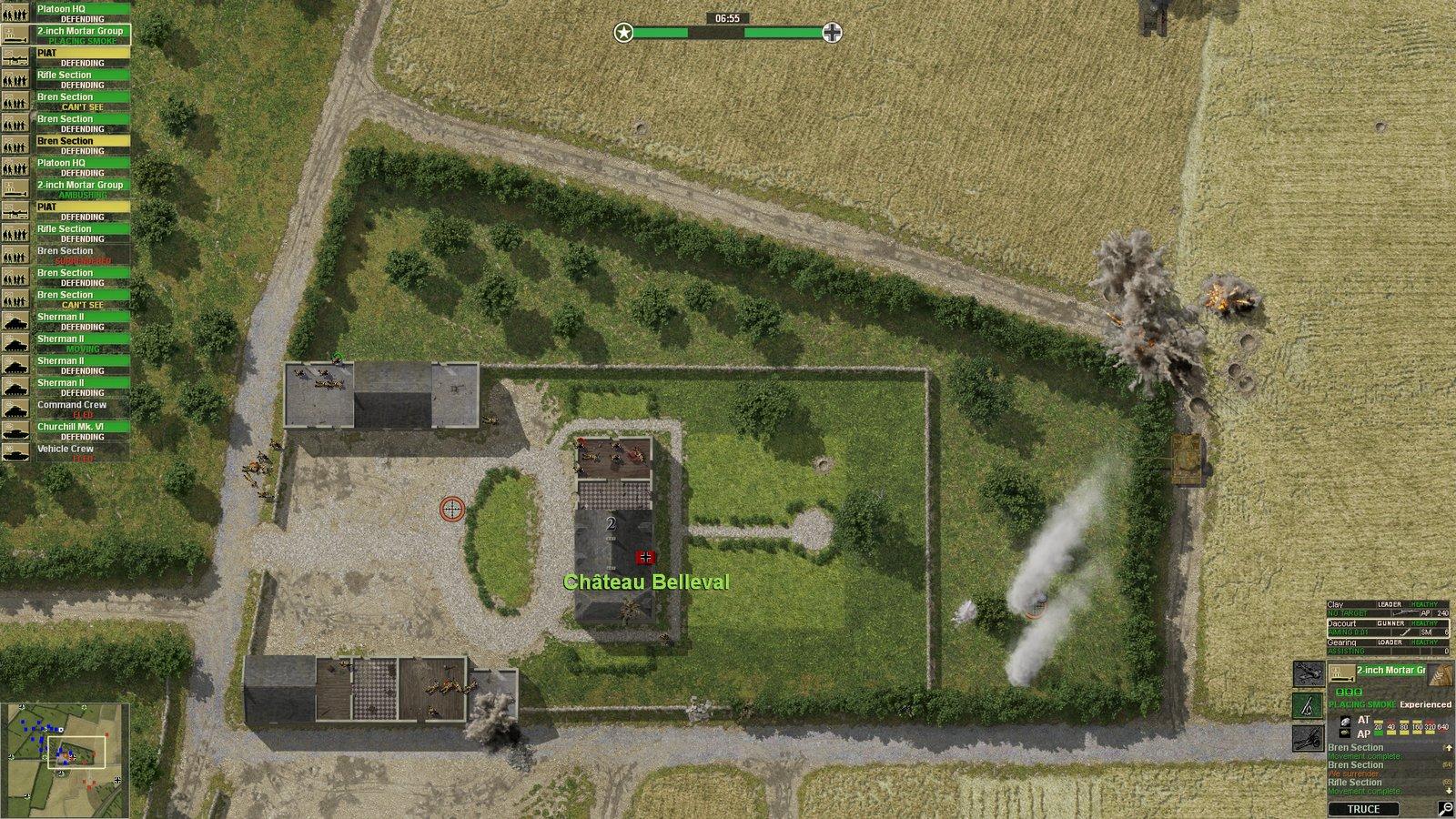 Les Britanniques tentent de protéger Château Belleval en attaquant le Tigre ennemi à l'aide de tirs d'artillerie.