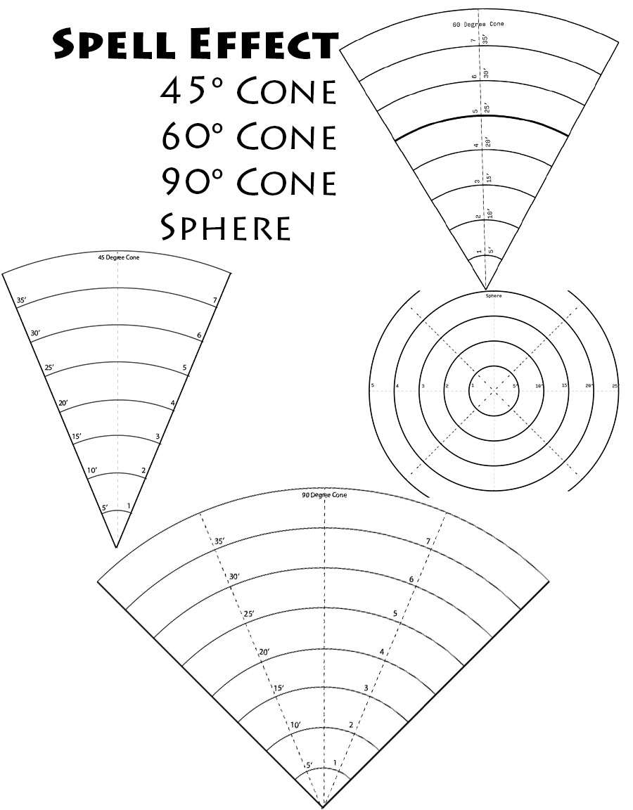 Spell Area Of Effect Cones Dungeon Masters Guild Wargame