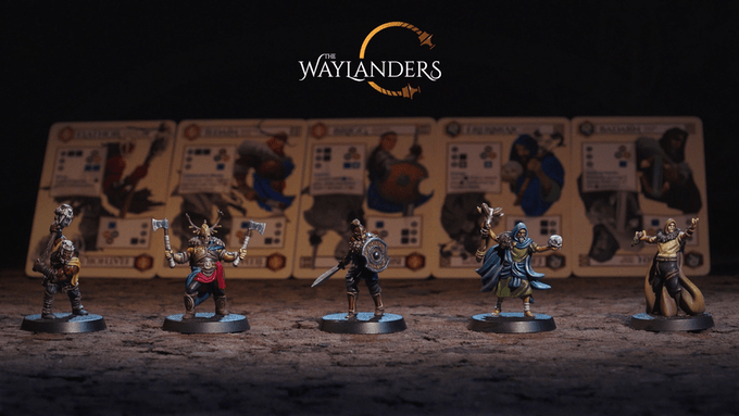 The Waylanders miniatures with their respective character cards