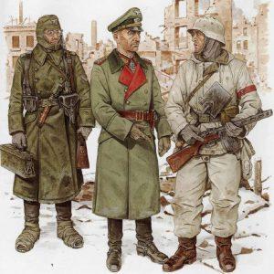 Distintos uniformes utilizados por los alemanes durante la Segunda Guerra Mundial