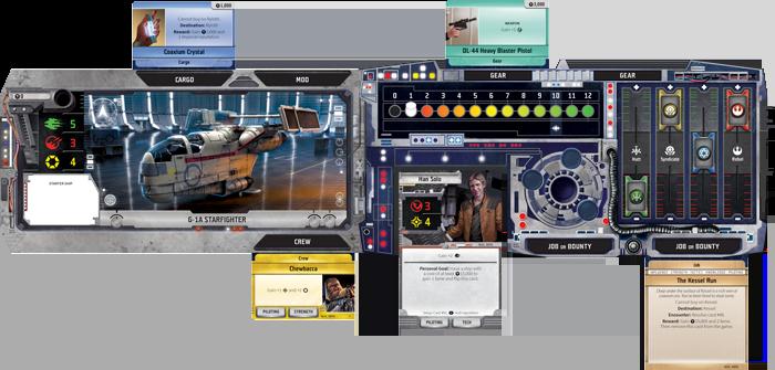 El tablero del jugador es el centro de tus aventuras en el Borde Exterior (Outer Rim) , con espacios para tu nave, tu personaje, tus trabajos y recompensas, tripulación, modificaciones y mucho más.