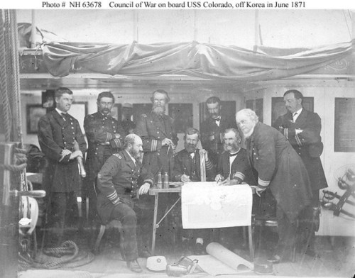 Officers aboard the USS Colorado planning actions in Korea via common.wikimedia.org